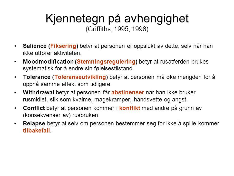Kjennetegn på avhengighet (Griffiths, 1995, 1996)