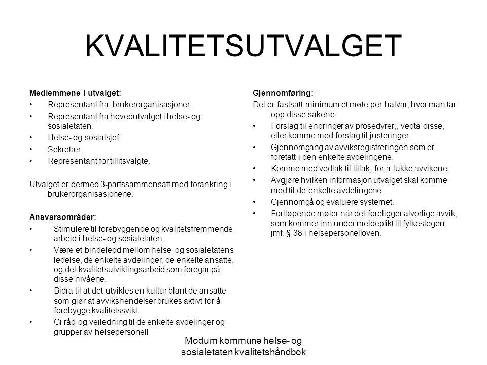 Modum kommune helse- og sosialetaten kvalitetshåndbok