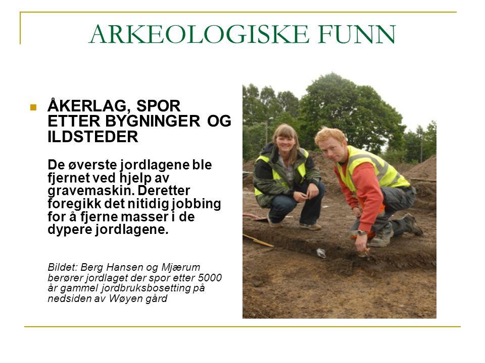 ARKEOLOGISKE FUNN ÅKERLAG, SPOR ETTER BYGNINGER OG ILDSTEDER