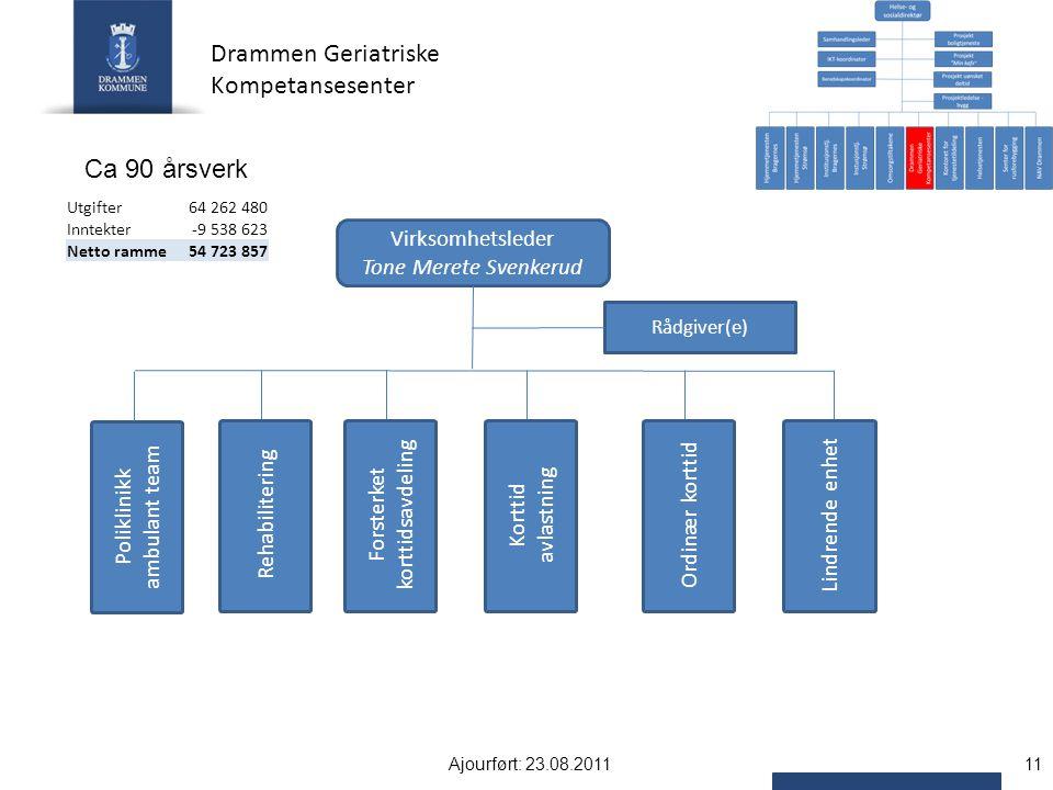 Drammen Geriatriske Kompetansesenter Ca 90 årsverk Virksomhetsleder