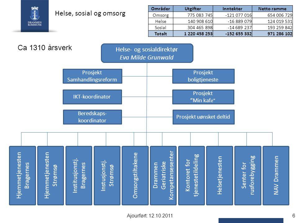 Helse, sosial og omsorg Ca 1310 årsverk Helse- og sosialdirektør