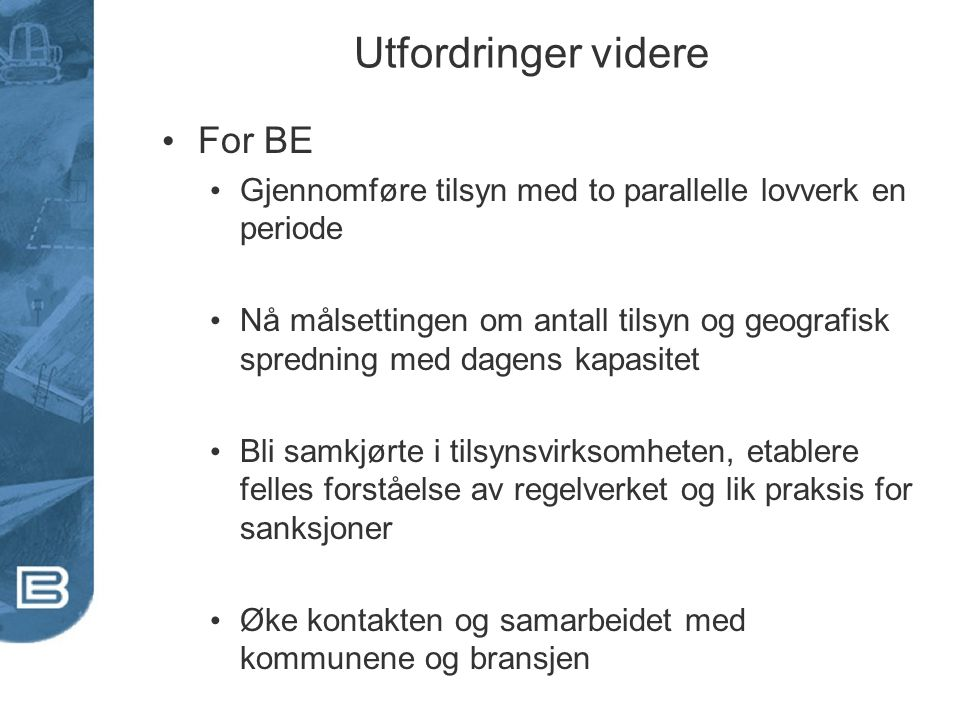 Utfordringer videre For BE