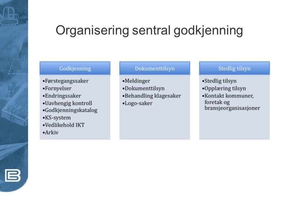 Organisering sentral godkjenning