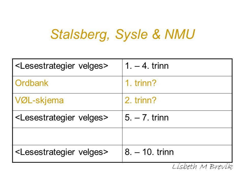 Stalsberg, Sysle & NMU <Lesestrategier velges> 1. – 4. trinn