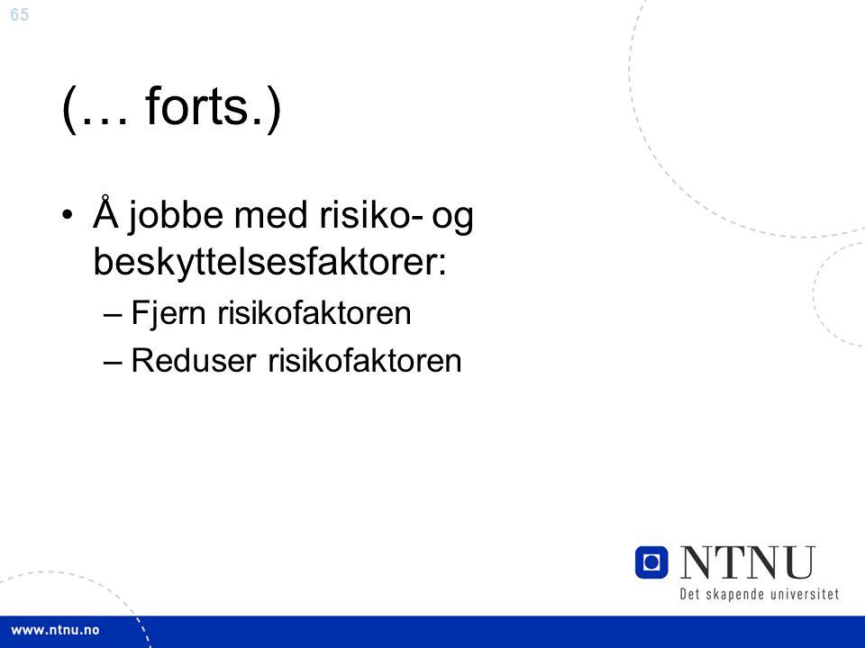 (… forts.) Å jobbe med risiko- og beskyttelsesfaktorer: