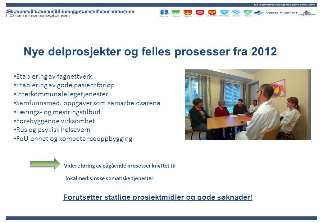 Nye delprosjekter og felles prosesser fra 2012
