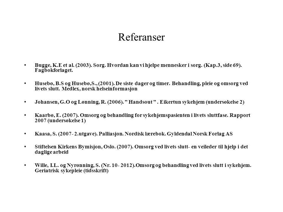 Referanser Bugge, K.E et al. (2003). Sorg. Hvordan kan vi hjelpe mennesker i sorg. (Kap.3, side 69). Fagbokforlaget.