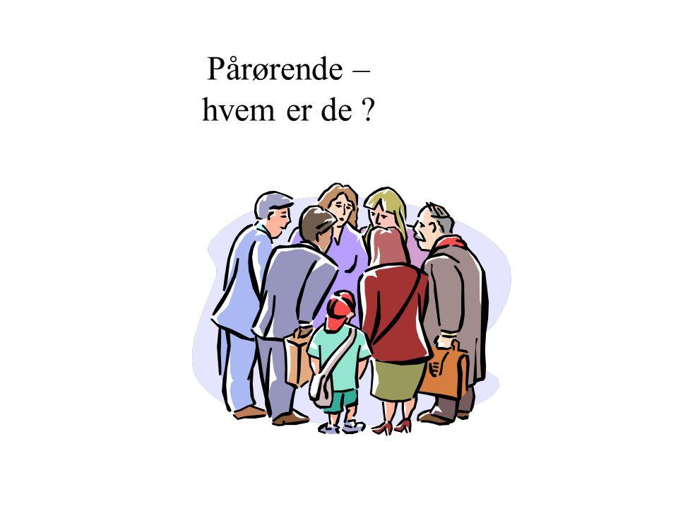 Pårørende – hvem er de Spør gruppen. Ektefelle – samboer – barn – svigerbarn – søsken – barnebarn og olderbarn. Naboer, en god venn, en nærstående.