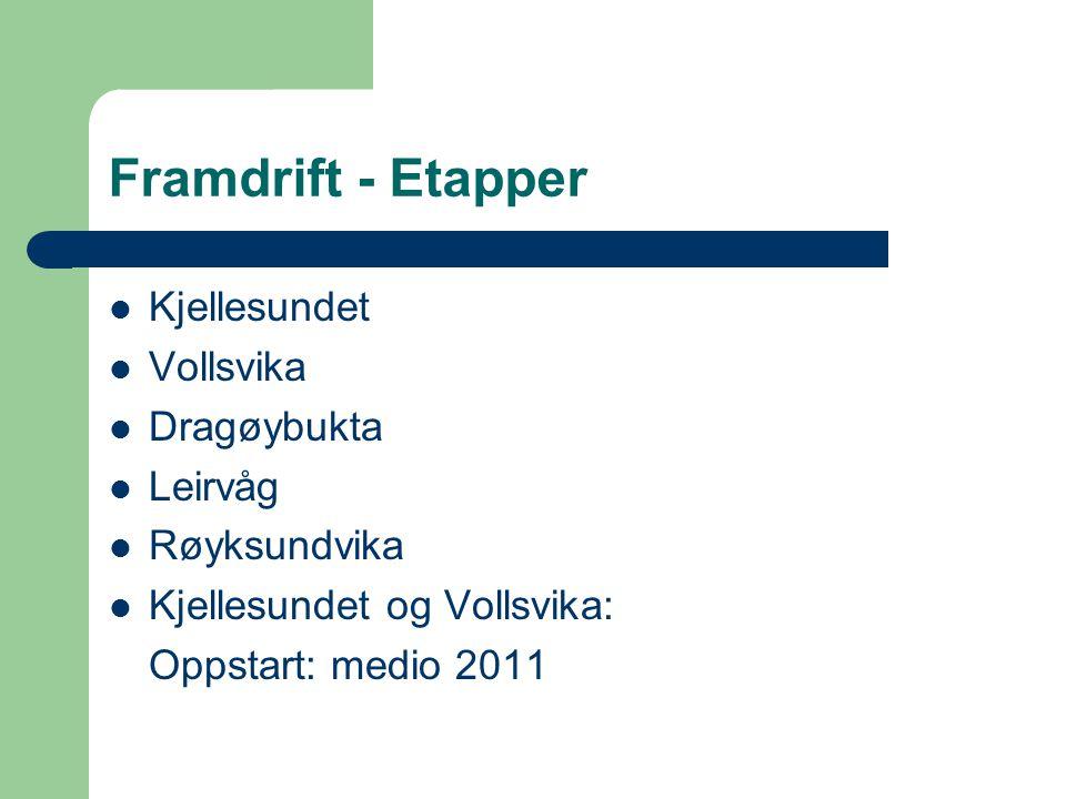 Framdrift - Etapper Kjellesundet Vollsvika Dragøybukta Leirvåg