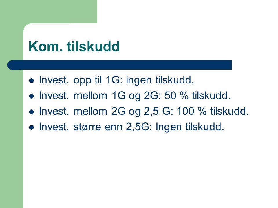 Kom. tilskudd Invest. opp til 1G: ingen tilskudd.