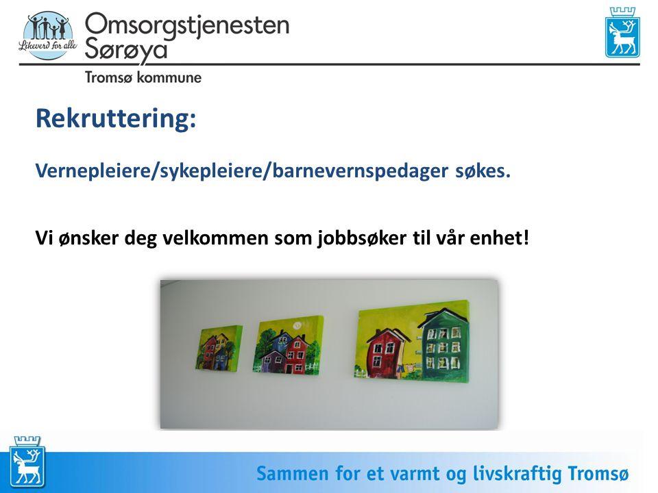 Rekruttering: Vernepleiere/sykepleiere/barnevernspedager søkes.