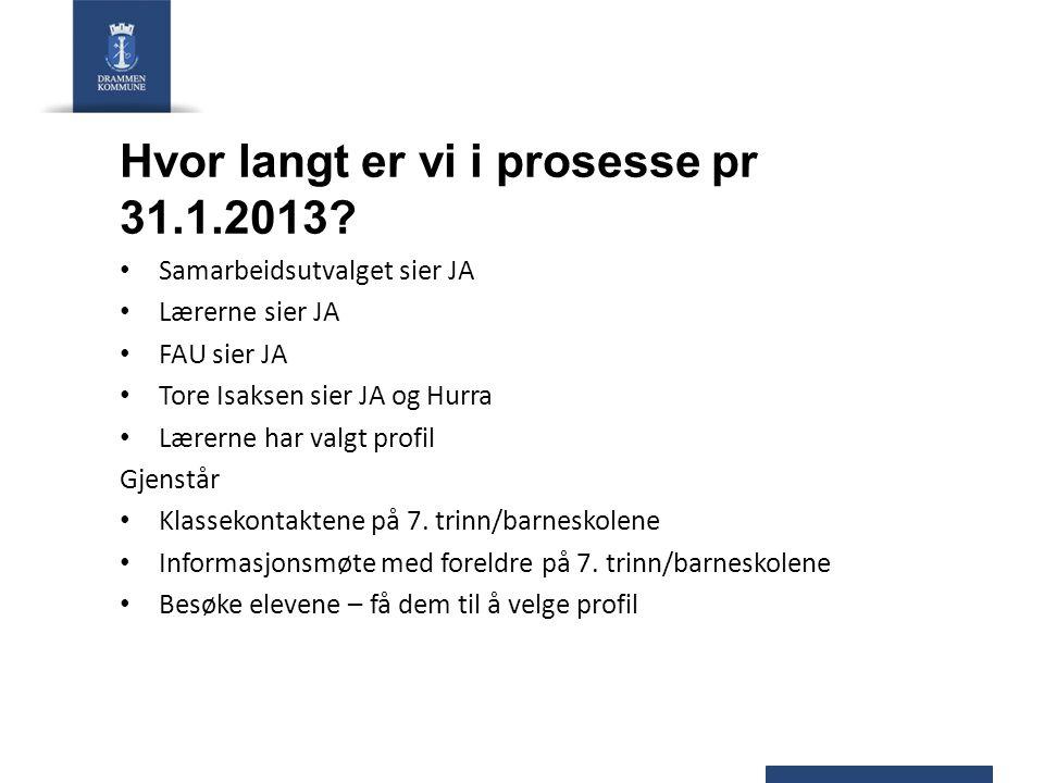 Hvor langt er vi i prosesse pr 31.1.2013