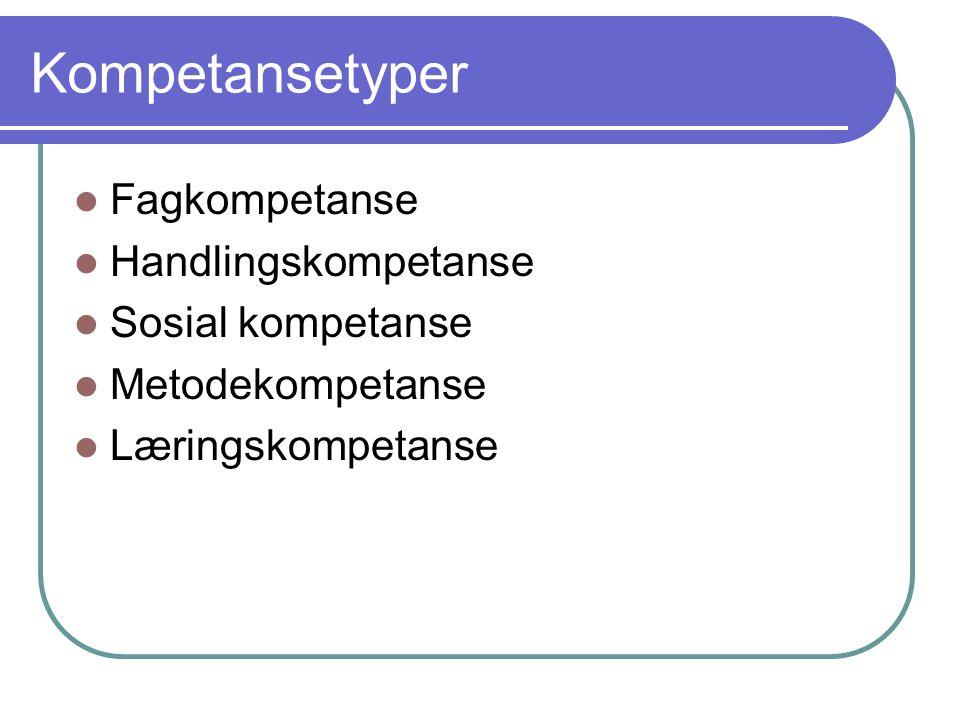 Kompetansetyper Fagkompetanse Handlingskompetanse Sosial kompetanse