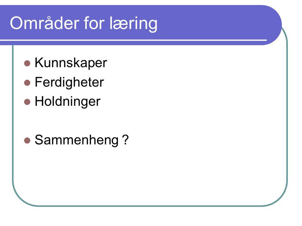 Områder for læring Kunnskaper Ferdigheter Holdninger Sammenheng