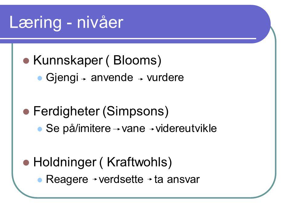 Læring - nivåer Kunnskaper ( Blooms) Ferdigheter (Simpsons)