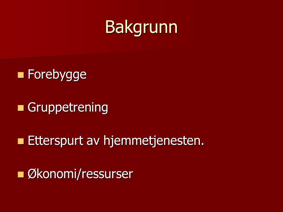 Bakgrunn Forebygge Gruppetrening Etterspurt av hjemmetjenesten.