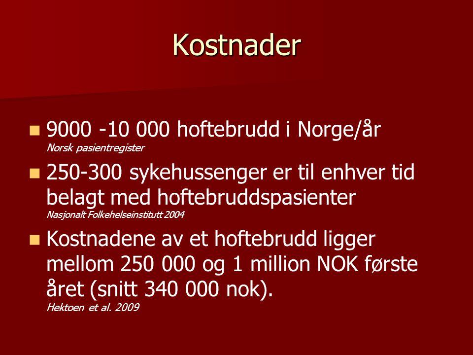 Kostnader 9000 -10 000 hoftebrudd i Norge/år Norsk pasientregister