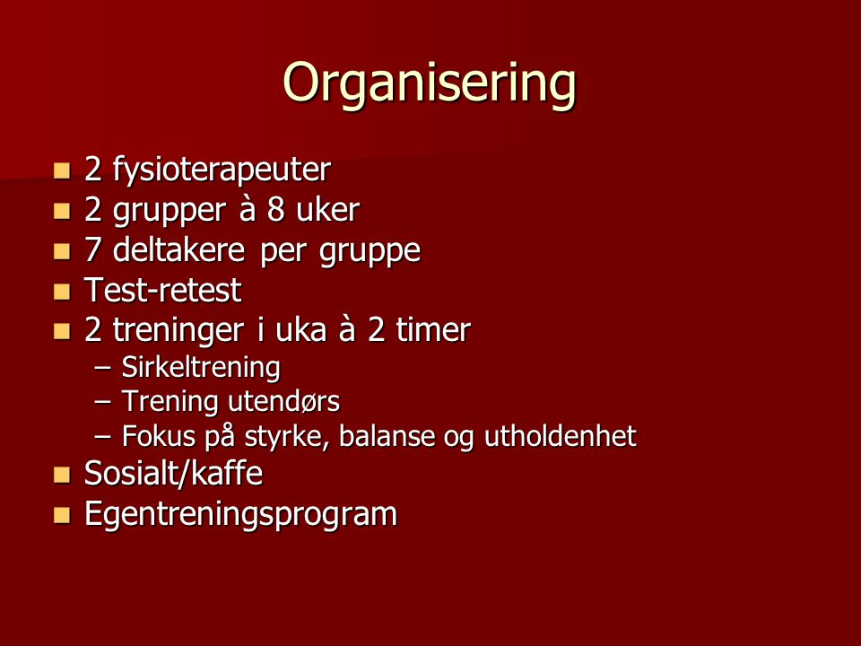 Organisering 2 fysioterapeuter 2 grupper à 8 uker