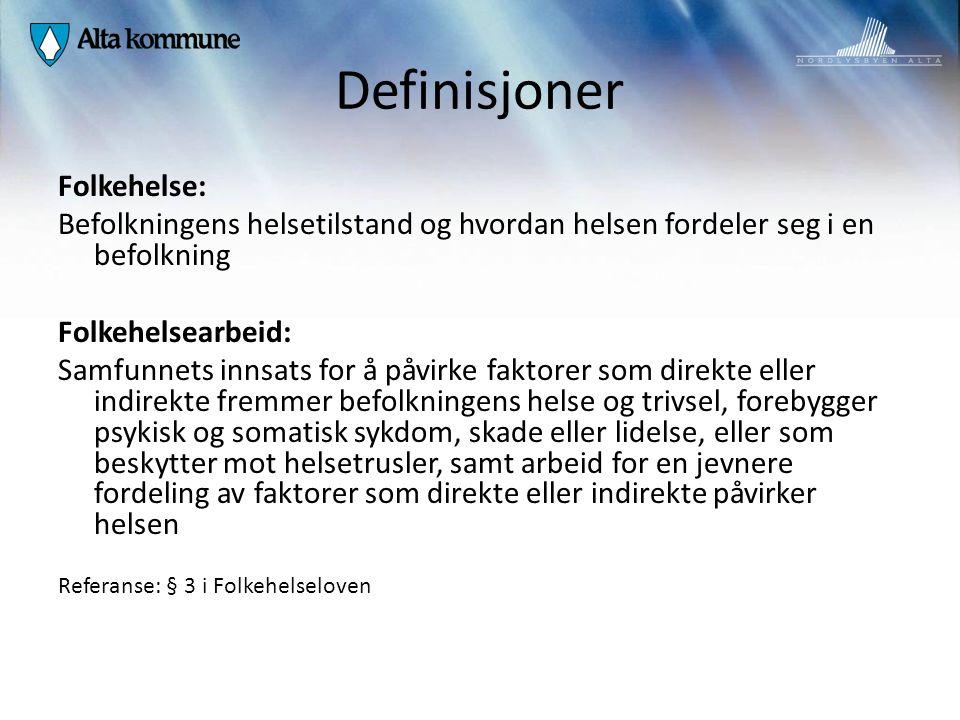 Definisjoner Folkehelse:
