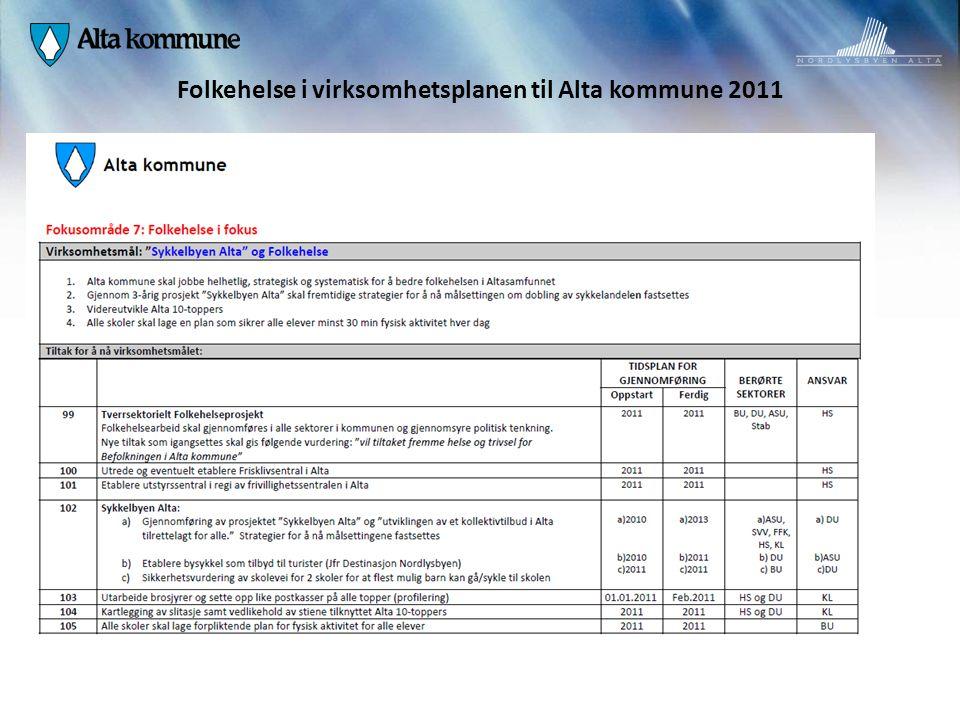 Folkehelse i virksomhetsplanen til Alta kommune 2011