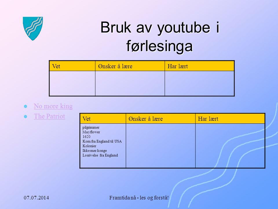 Bruk av youtube i førlesinga