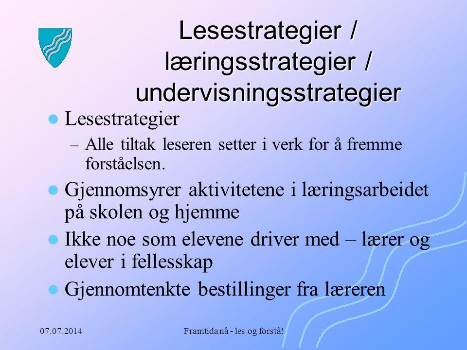 Lesestrategier / læringsstrategier / undervisningsstrategier