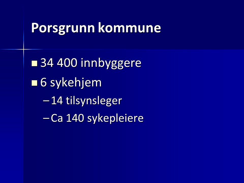 Porsgrunn kommune 34 400 innbyggere 6 sykehjem 14 tilsynsleger