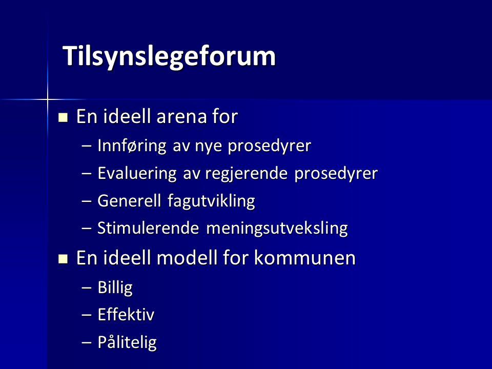 Tilsynslegeforum En ideell arena for En ideell modell for kommunen