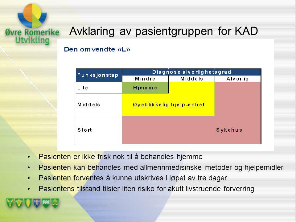 Avklaring av pasientgruppen for KAD