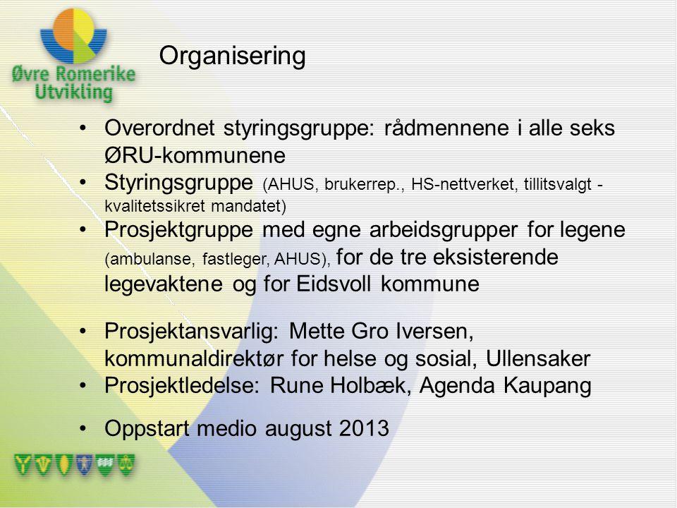 Organisering Overordnet styringsgruppe: rådmennene i alle seks ØRU-kommunene.