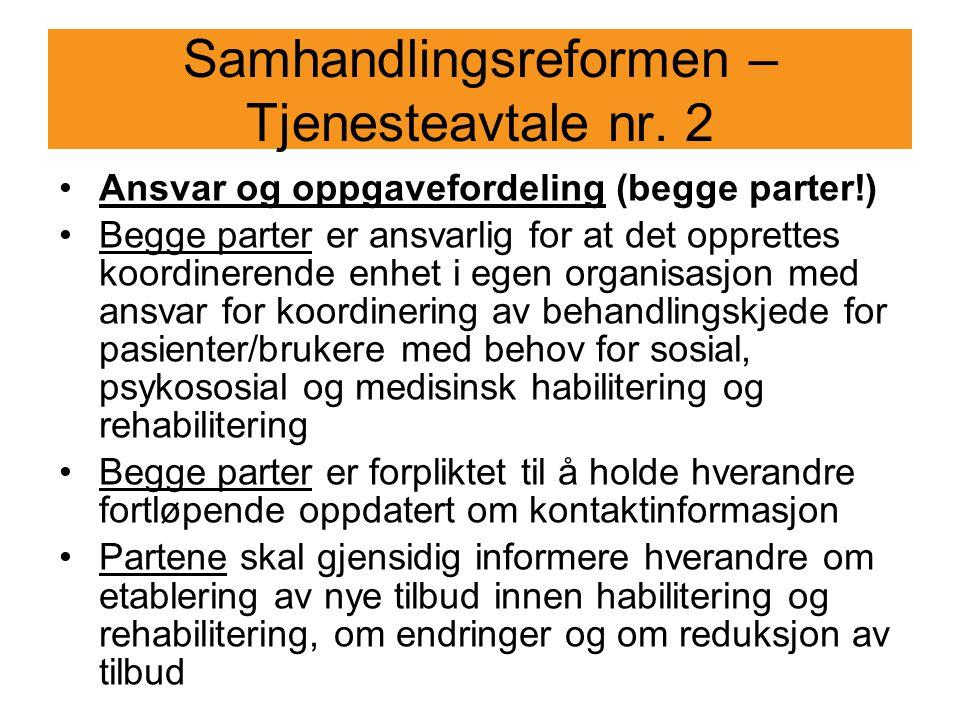 Samhandlingsreformen – Tjenesteavtale nr. 2
