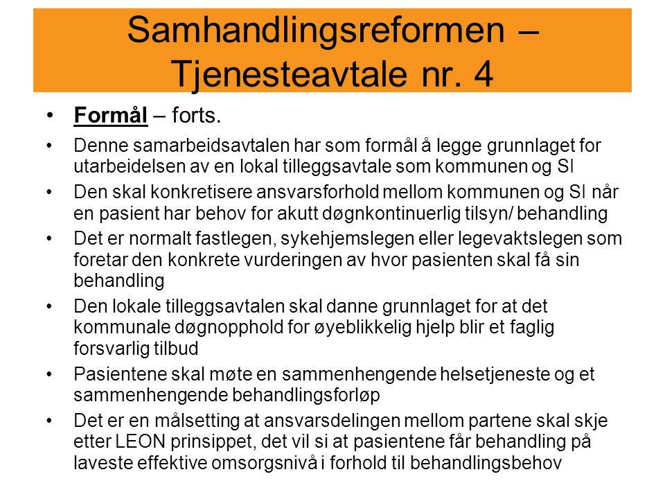 Samhandlingsreformen – Tjenesteavtale nr. 4