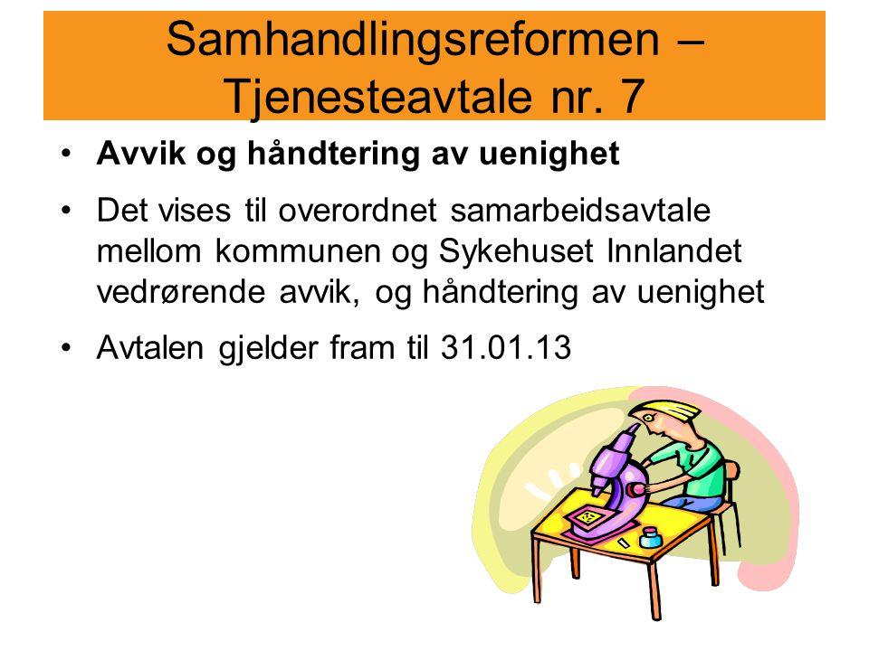 Samhandlingsreformen – Tjenesteavtale nr. 7
