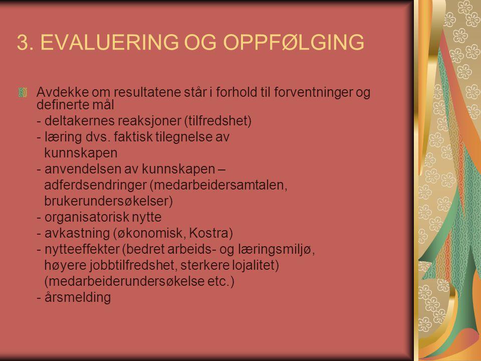 3. EVALUERING OG OPPFØLGING
