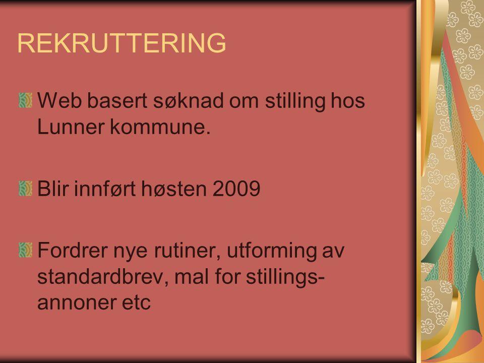 REKRUTTERING Web basert søknad om stilling hos Lunner kommune.