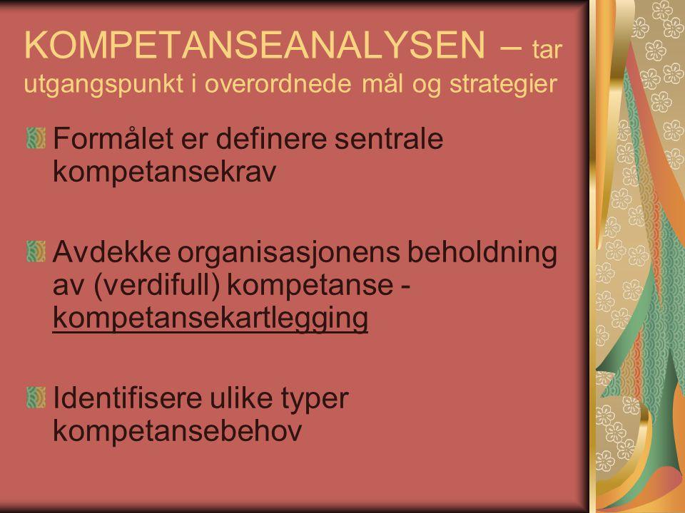 KOMPETANSEANALYSEN – tar utgangspunkt i overordnede mål og strategier