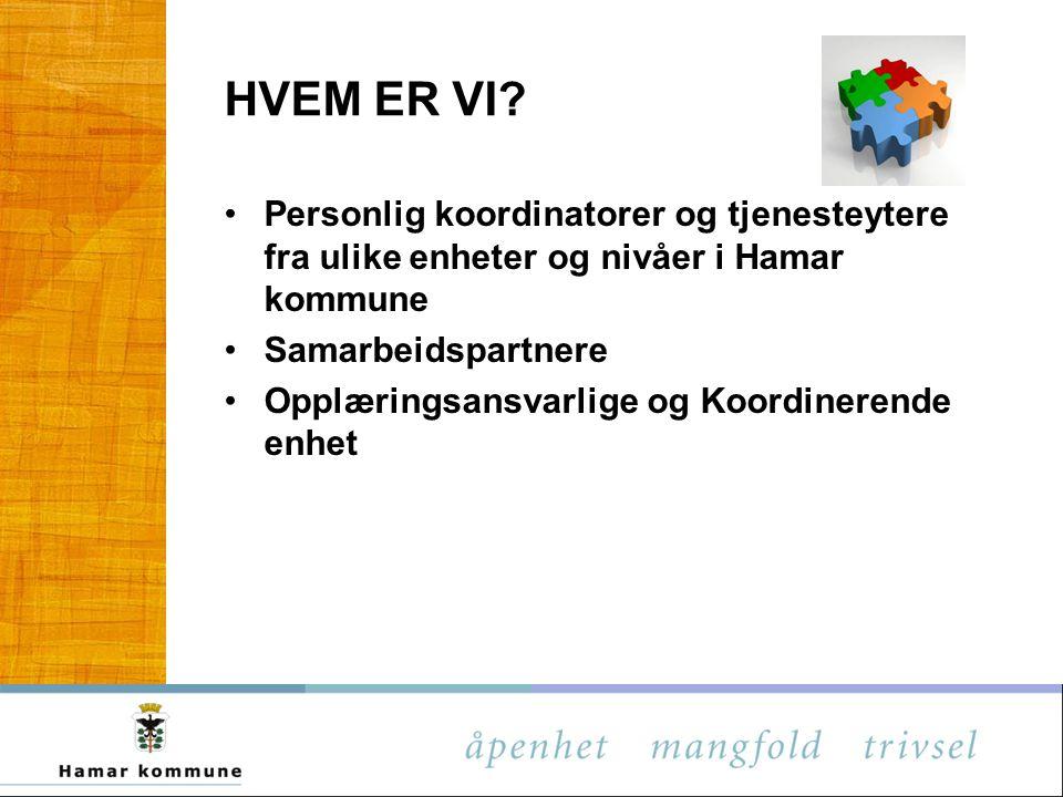 HVEM ER VI Personlig koordinatorer og tjenesteytere fra ulike enheter og nivåer i Hamar kommune. Samarbeidspartnere.