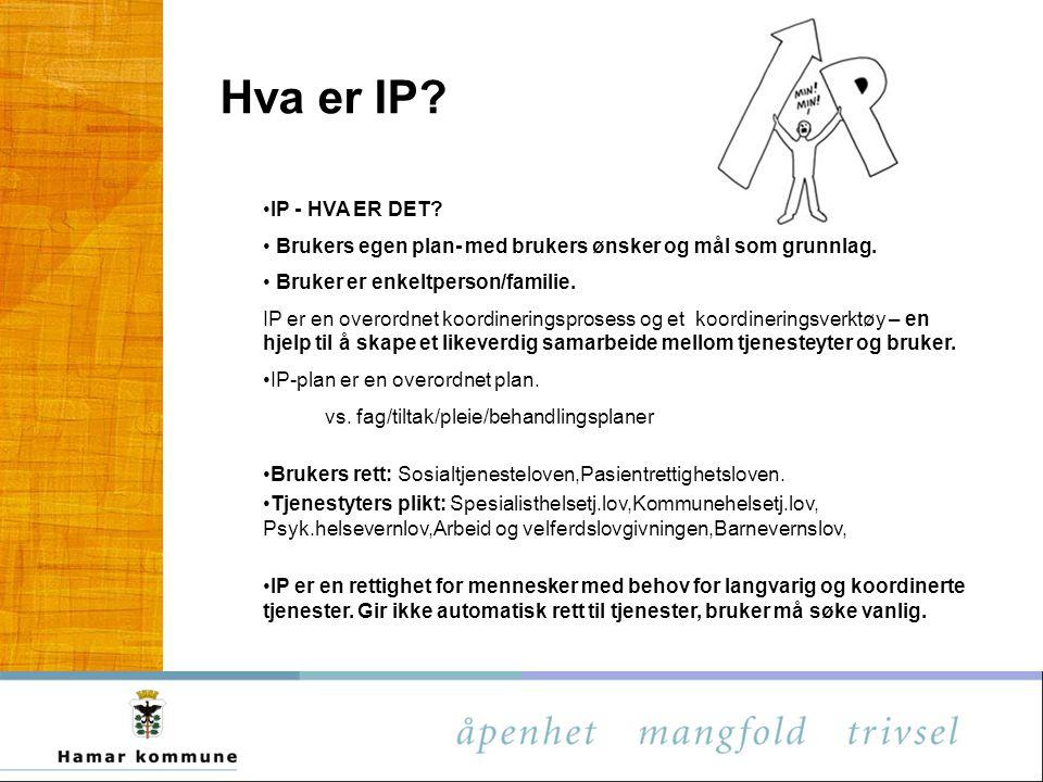 Hva er IP IP - HVA ER DET Brukers egen plan- med brukers ønsker og mål som grunnlag. Bruker er enkeltperson/familie.