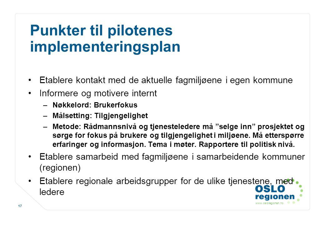 Punkter til pilotenes implementeringsplan