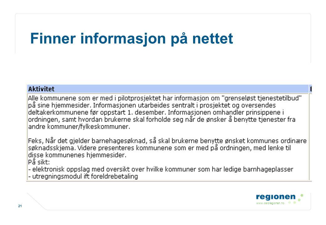 Finner informasjon på nettet