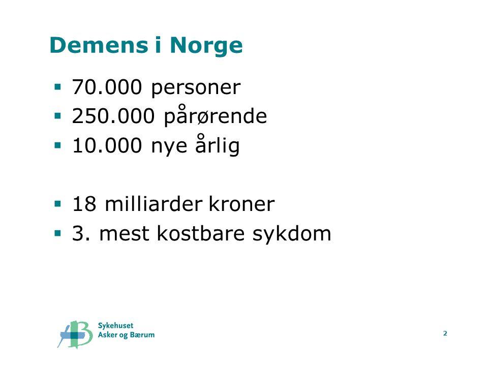 Demens i Norge 70.000 personer 250.000 pårørende 10.000 nye årlig