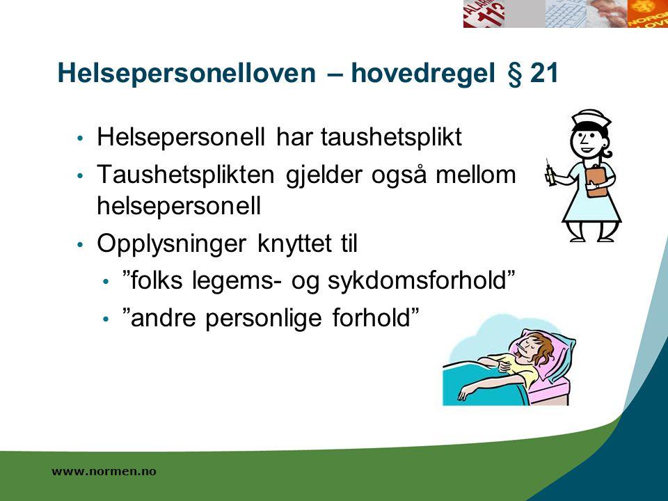 Helsepersonelloven – hovedregel § 21
