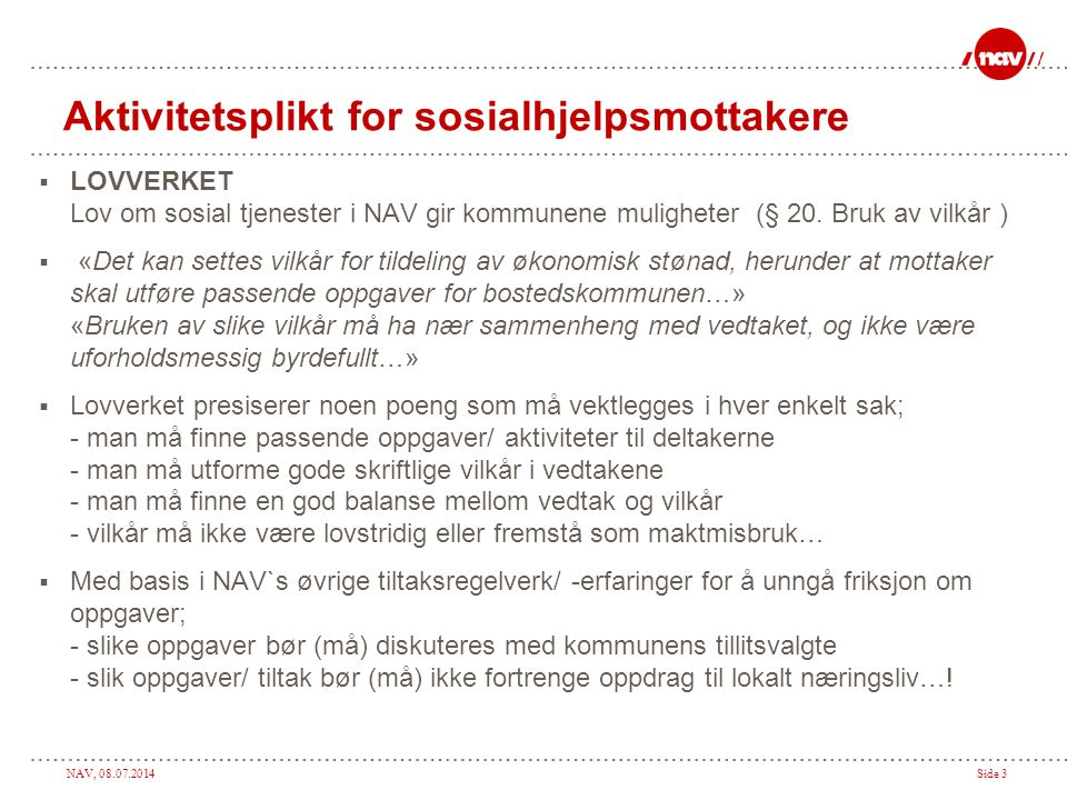 Aktivitetsplikt for sosialhjelpsmottakere