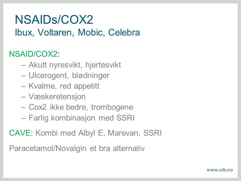 NSAIDs/COX2 Ibux, Voltaren, Mobic, Celebra