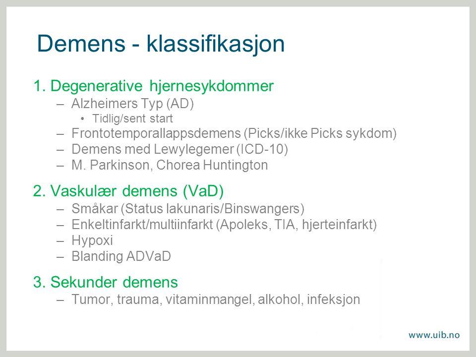 Demens - klassifikasjon