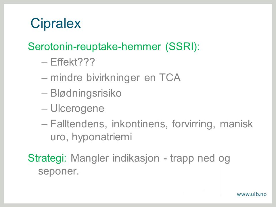 Cipralex Serotonin-reuptake-hemmer (SSRI): Effekt
