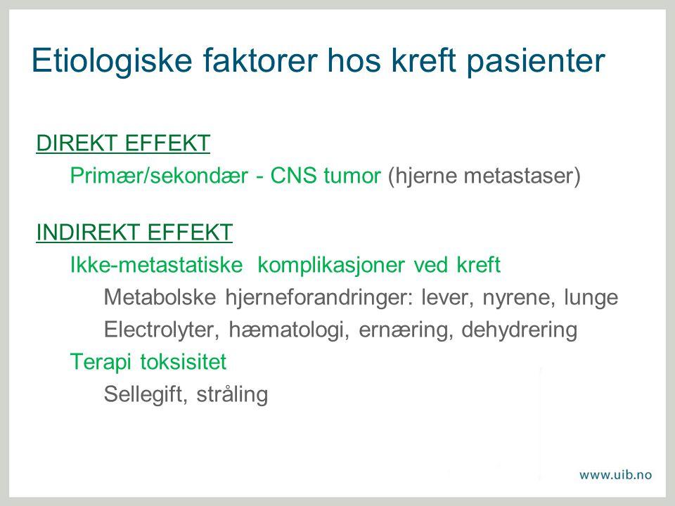 Etiologiske faktorer hos kreft pasienter