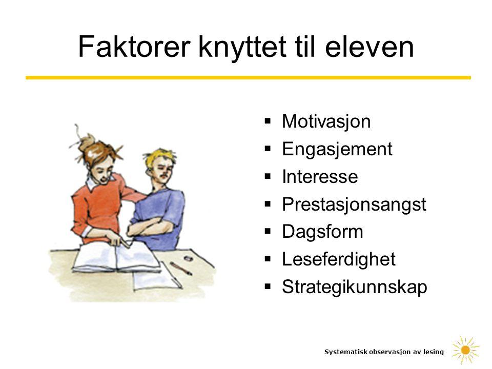 Faktorer knyttet til eleven