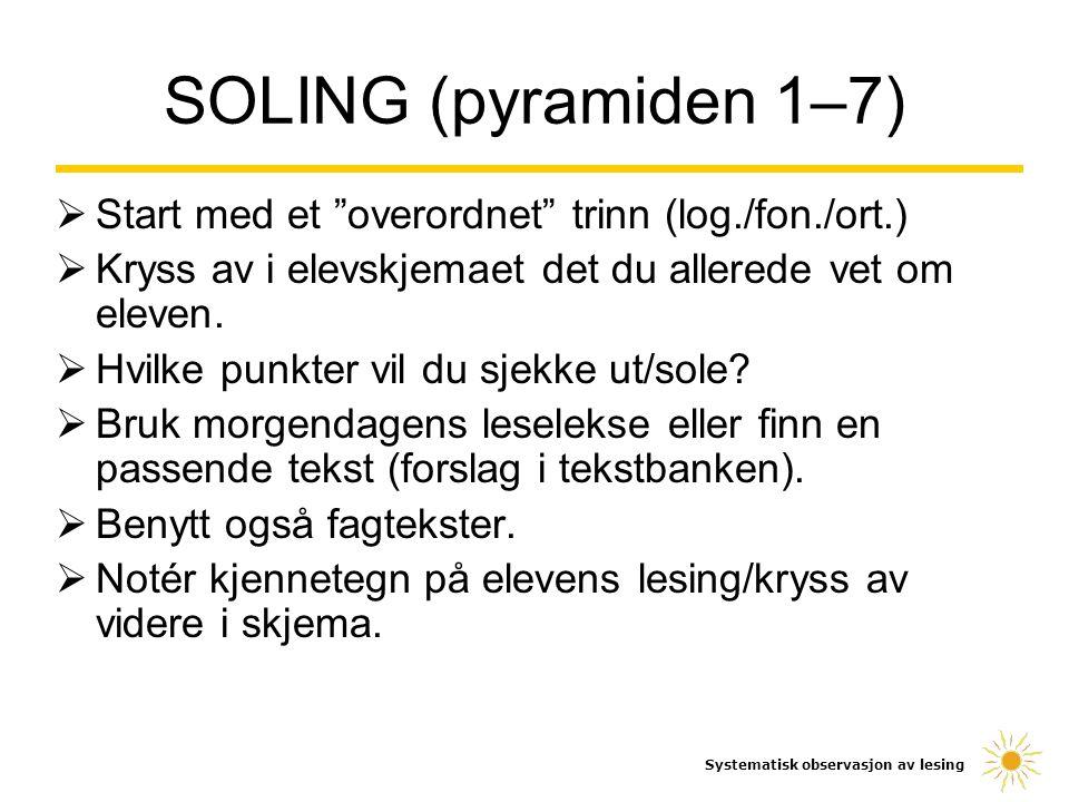 SOLING (pyramiden 1–7) Start med et overordnet trinn (log./fon./ort.) Kryss av i elevskjemaet det du allerede vet om eleven.