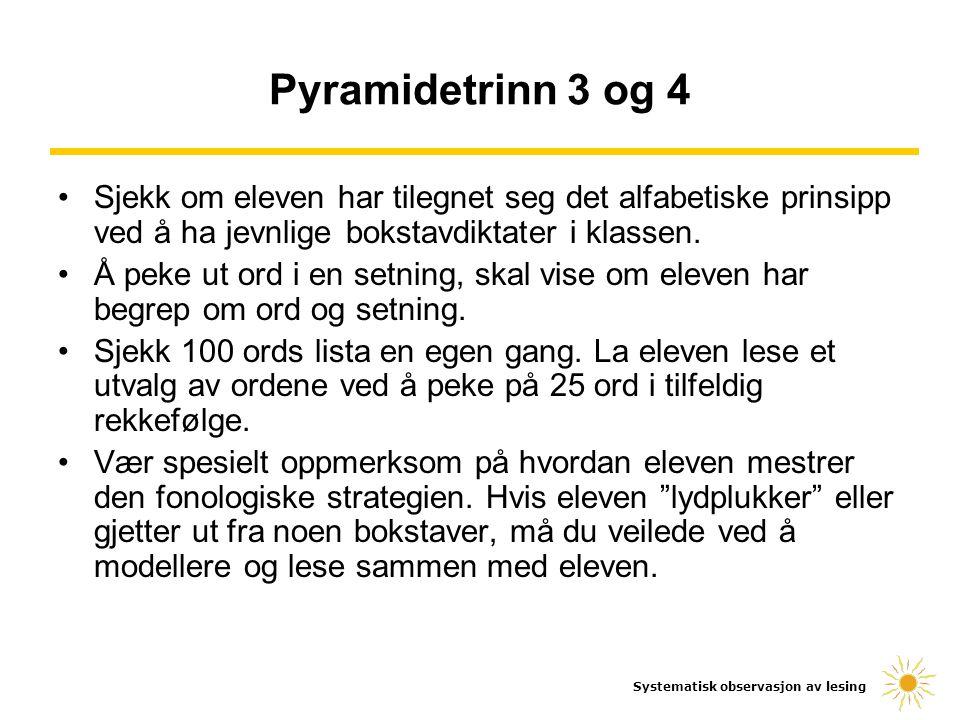 Pyramidetrinn 3 og 4 Sjekk om eleven har tilegnet seg det alfabetiske prinsipp ved å ha jevnlige bokstavdiktater i klassen.